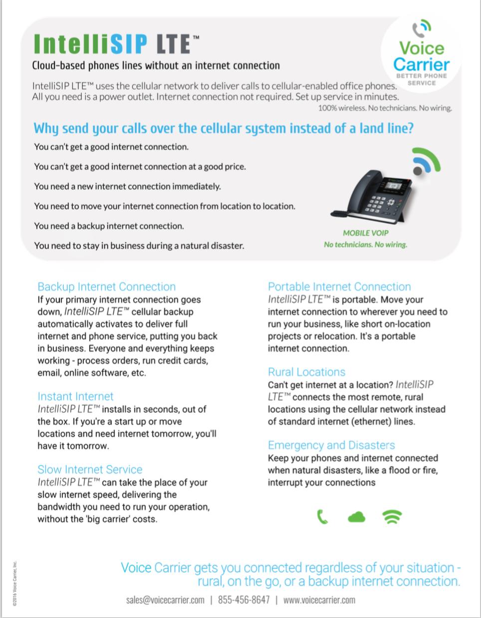 IntelliSIP LTE Internet Service